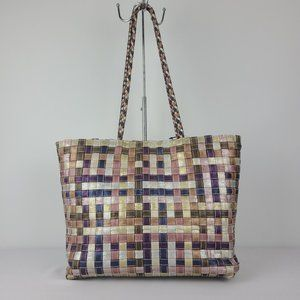 Basket Weave Metallic Tote Bag